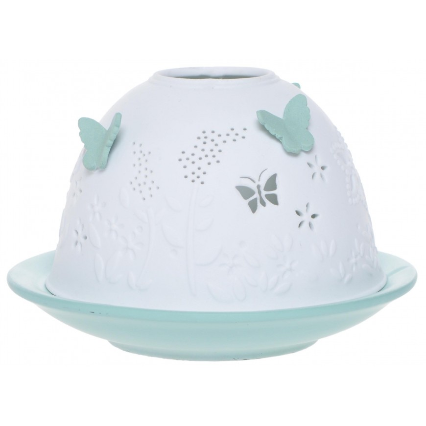 Lampion ceramiczny w motylki zielony 7,5 cm