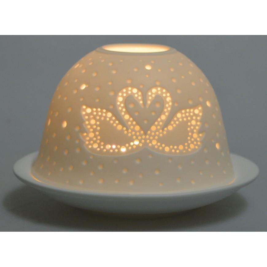 Lampion ceramiczny biały ażurowy z łabędziem 7,5