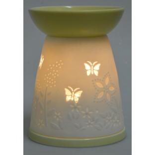 Domek kominek  zapachowy na olejek w motylki 13,5 cm /żółty/
