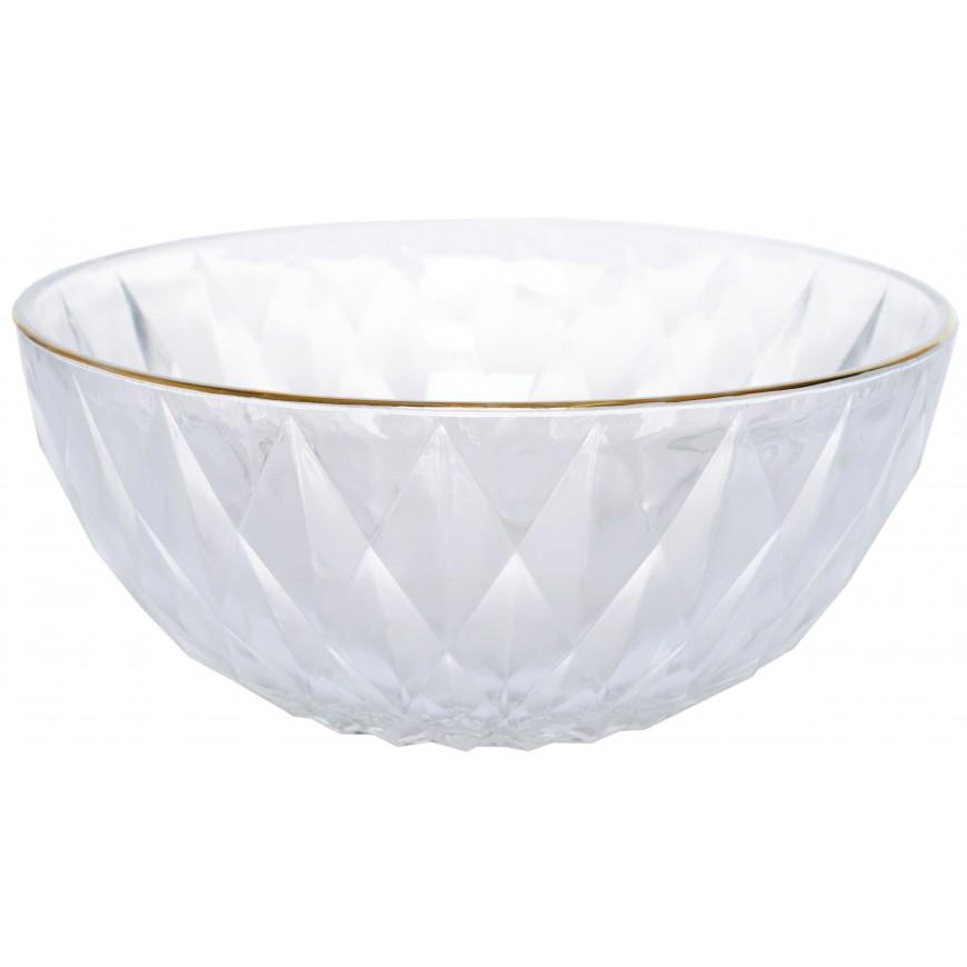 Miska szklana ze złotym brzegiem 17 cm