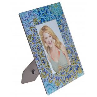 Ramka szklana na zdjęcie niebieskie wzory