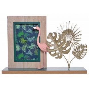 Ramka na podstawce z liśćmi i flamingiem 30x21