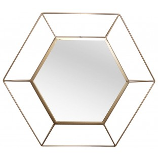 Lustro geometryczne w okragłej złotej ramie 60x52 cm