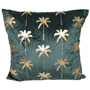 Poduszka welurowa złote palmy ciemna zieleń 45x45 cm