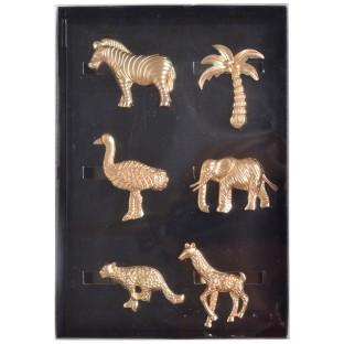 Serwetnik obrączka na serwetkę złote metalowe zwierzęta 6 szt .