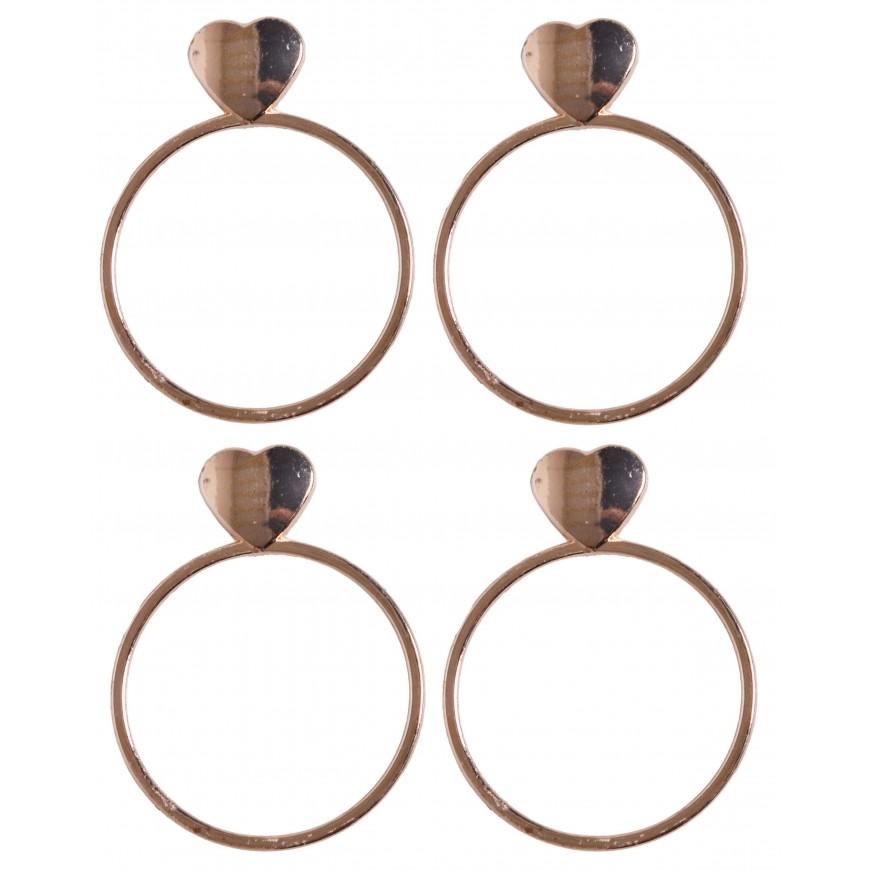 Serwetnik metalowy obrączka na serwetkę złoty z perłami 2 szt .