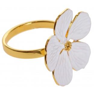 Serwetnik metalowa złota obrączka na serwetkę biały kwiatek