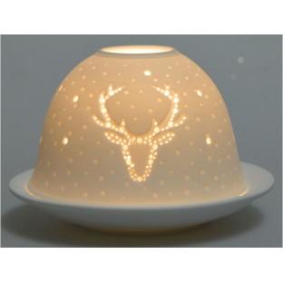 Lampion biały ceramiczny z reniferem 11x7.5