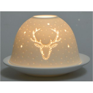 Lampion ceramiczny z reniferem