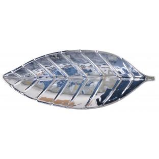 Talerz srebrny liść ceramika 29 cm