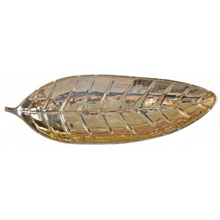 Talerz złoty liść ceramika 29 cm