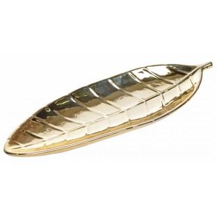 Talerz podstawka złoty liść ceramiczny 35 cm