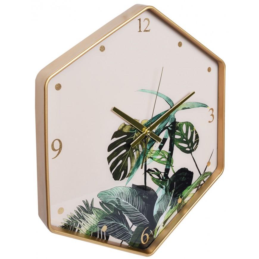 Zegar sześciokąt z motywem liści 49x43 cm