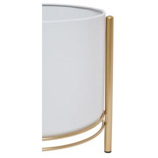 KWIETNIK metalowy biały na złotych nogach komplet 3 szt 28/29/30 cm