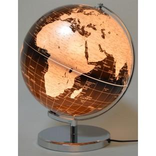 Globus czarno-srebrny podświetlany 30 cm