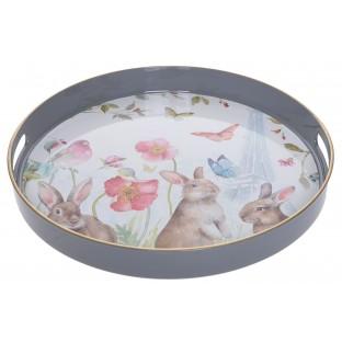 Taca kuchenna okrągła szara w króliczki
