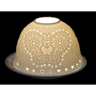 Lampion ceramiczny biały ażurowy z sercem 7,5