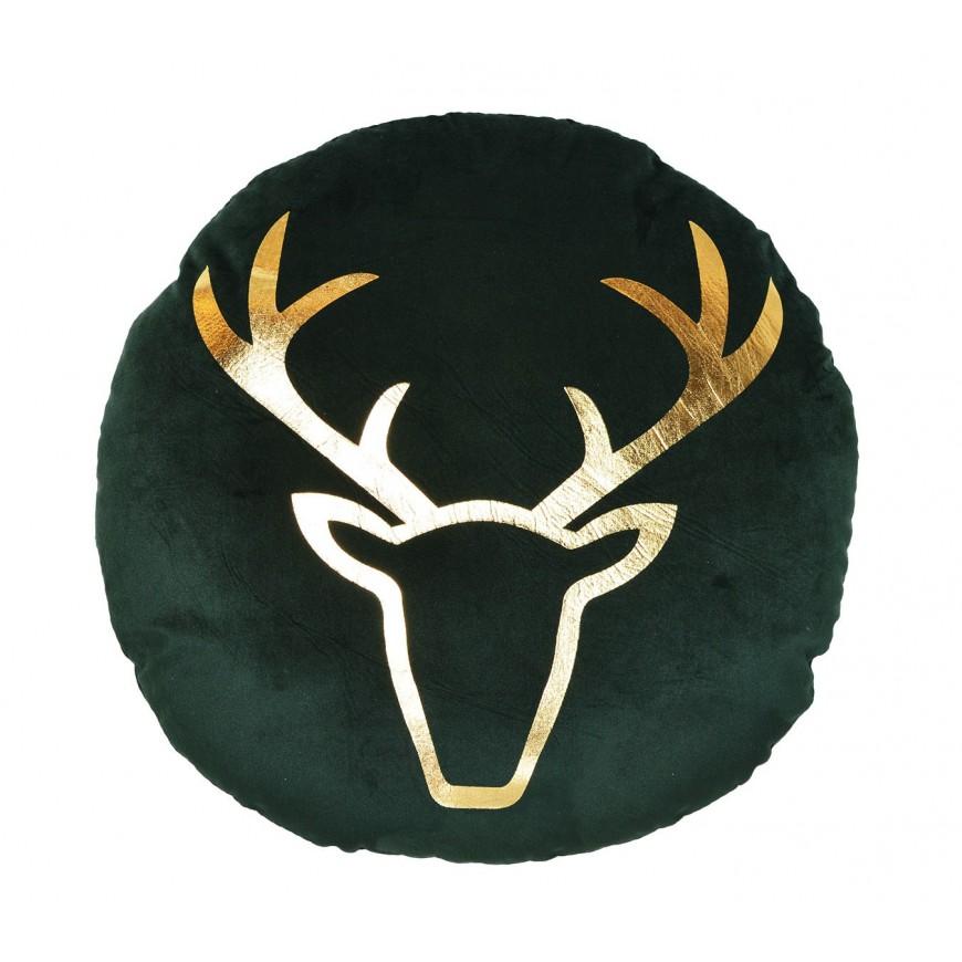 Poduszka welurowa zielona ze złotym reniferem okrągła