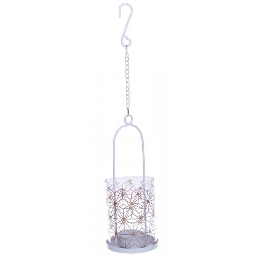 Lampion wiszący metal + szkło 8x19 cm