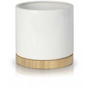 Osłonka biała z drewnem bamboo 13x14 cm