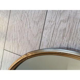 Lustro okrągłe w miedzianej/złotej ramie 40 cm