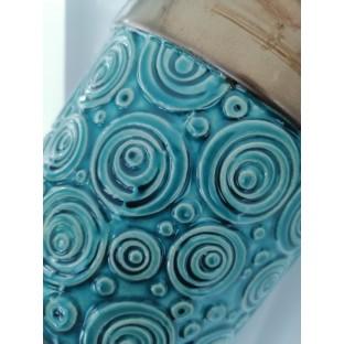 Osłonka ceramiczna turkus mosiądz 14x14 cm