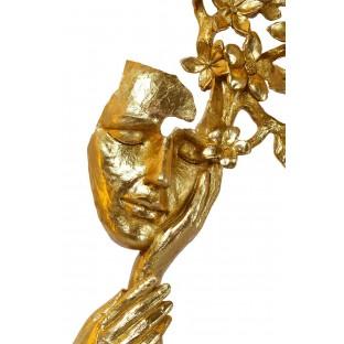 Maska z kwiatami rzeźba złota 45 cm