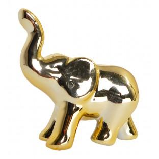 Słonik złoty mały ceramiczny 5x6 cm