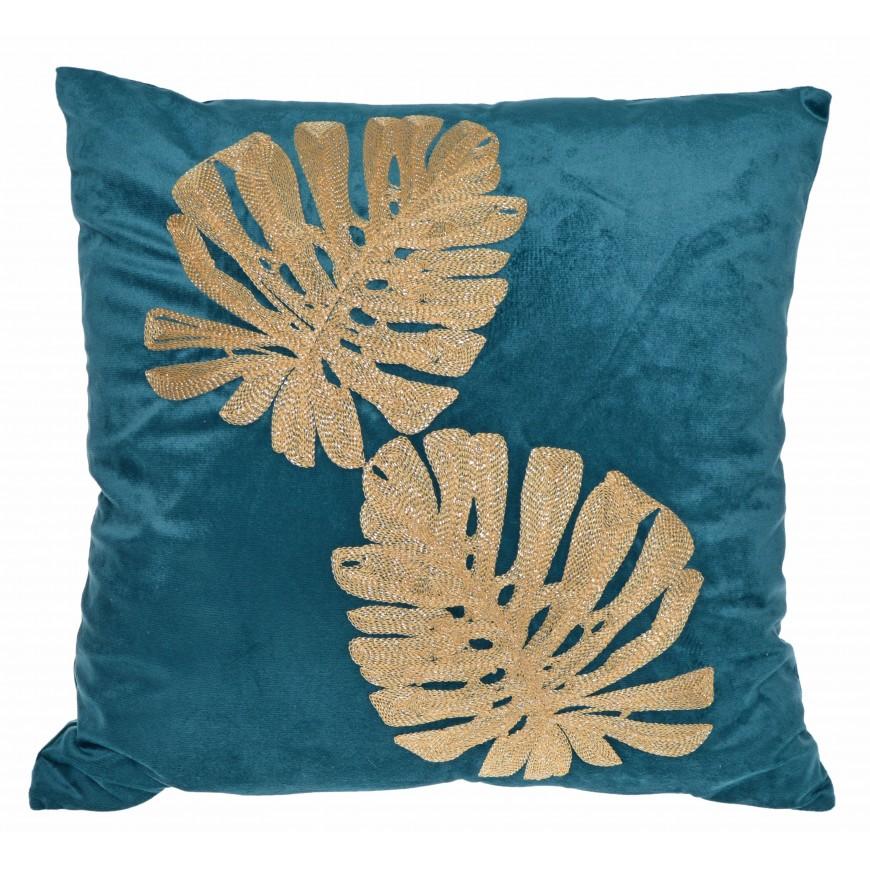 Poduszka welurowa zielona ze złotymi liśćmi 45x45 cm