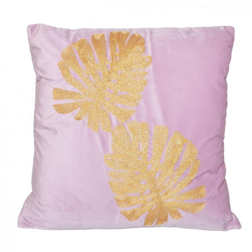 Poduszka welurowa różowa ze złotymi liśćmi 45x45 cm