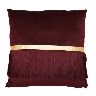 Poduszka bordowa z frędzlami duża 45x45 cm