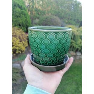 Doniczka zielona z podstawiem mała 10,5x12 cm