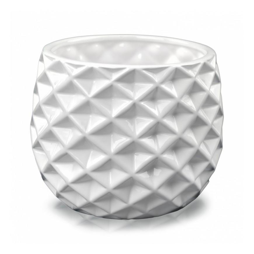 Osłonka ceramiczna geometryczna biała 13x16