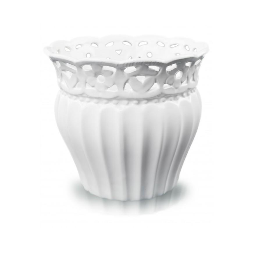 Osłonka ceramiczna biała ażurowa