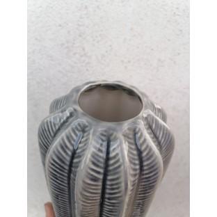 Wazon ceramiczny niebieski ze wzorem 25 cm
