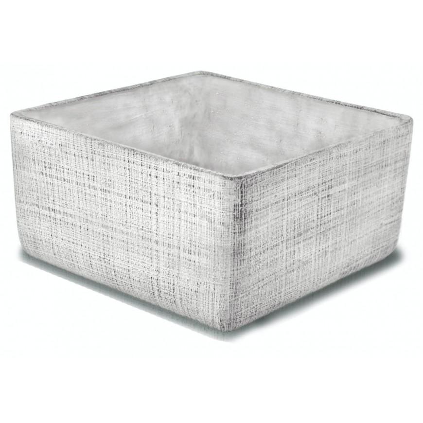 Osłonka betonowa doniczka szaro-biała 25x25