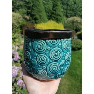 Osłonka ceramiczna turkus mosiądz 14x13 cm