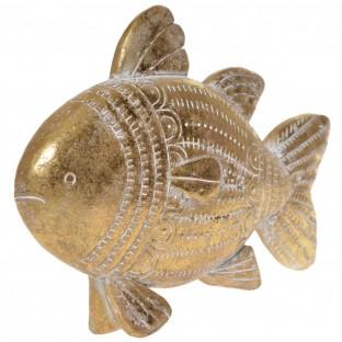 Ryba dekoracyjna złota przecierana figurka 21x15 cm