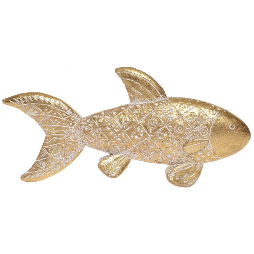 Ryba dekoracyjna złota przecierana figurka 23x10 cm