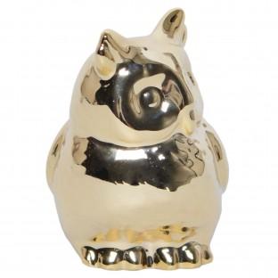 Sowa mini złota figurka ceramiczna 5 cm