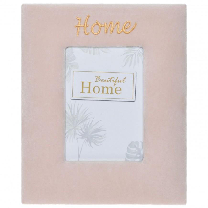 Ramka na jedno zdjęcie welurowa różowa HOME
