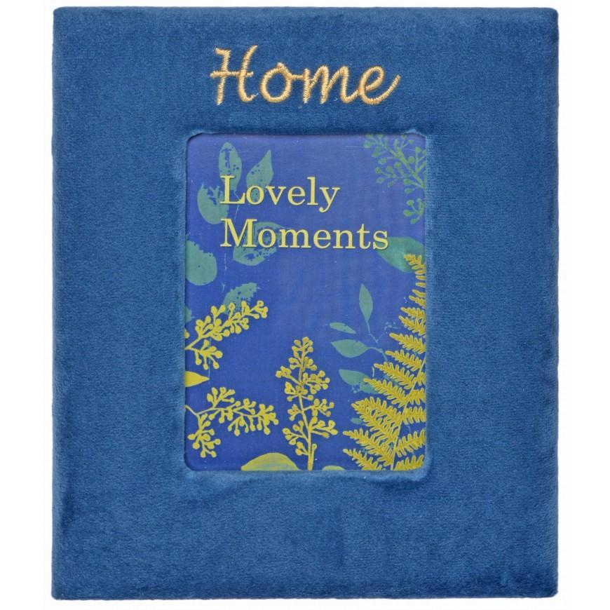 Ramka na jedno zdjęcie welurowa niebieska HOME