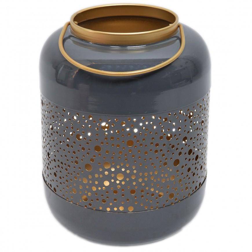 Lampion metalowy ażurowy szaro-złoty 25 cm