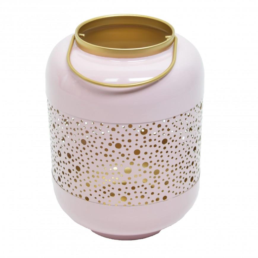 Lampion metalowy ażurowy różowo-złoty 25 cm