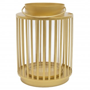Lampion metalowy złoty ze szkłem