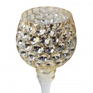 Świecznik szklany na nóżce KIELICH złoty plaster miodu 2 szt  25/30 cm