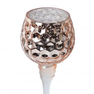 Świecznik szklany na nóżce KIELICH miedziany plaster miodu 2 szt  25/30 cm