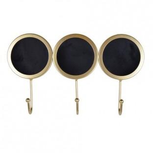 Wieszak metalowy czarno-złoty 3 haki 31x18