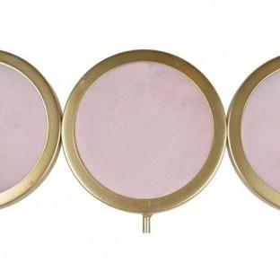 Wieszak metalowy różowo-złoty 3 haki 31x18