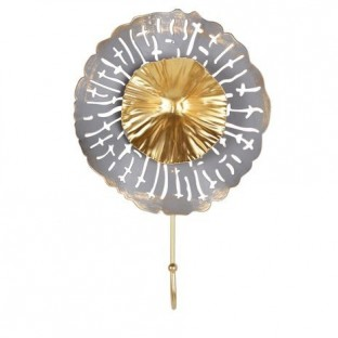 Wieszak metalowy kwiatek szaro-złoty 1 haczyk 28 cm